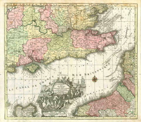 """La Plus Grande Partie de la Manche, qui contient Les Cótes d'Angleterre et celles de France les bords Maritimes de Picardie"".  Copper engraving map by Matthaeus Seutter (1678-1756), ca 1720. Original hand coloring.  In the upper center of this splendid map is London. The map shows much of the southeast coast of England on the English Channel. In the southwest is the Ise of Wight."