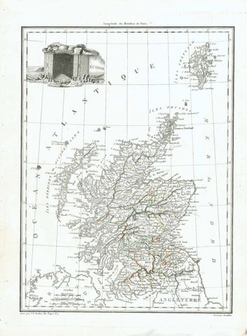 "No Title (Scotland)  In the upper left is a geological formation titled ""Ecosse"". In the upper right are the Shetland Islands. In the lower left is part of Northern Ireland. In the lower right is Workington, Applebi and Durham in England.  Copper engraving by J. B. Tardieu. after Giraldon published 1812. Some original outline hand coloring. Very good condition."