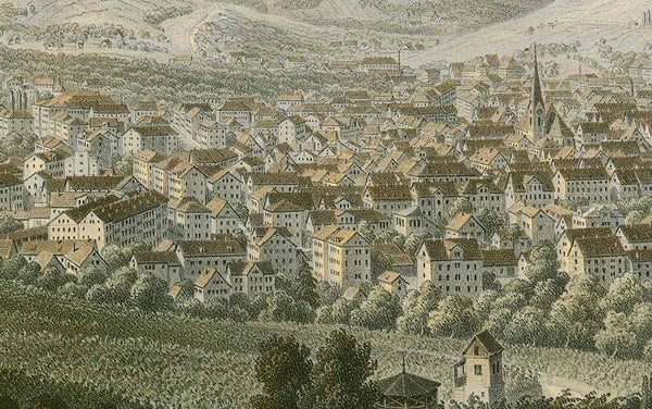 Stuttgart  Spectacular and very rare toned lithograph with modest, subdued green, red and blue colors  By Eberhard Emminger, interior design, wall decoration, ideas, idea, gift ideas, present, vintage, charming, special, decoration, home interior, living room design, Dekoration, Geschenk, Geschenkidee, Büro, Wohnzimmer, interior design, wall decoration, ideas, idea, gift ideas, present, vintage, charming, special, decoration, home interior, living room design