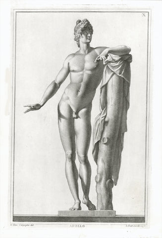 "Apollo  Copper etching by Io. Batt. Iacoboni  Image: 34.5 x 21 cm ( 13.5 x 8.2 "") Page size: 39.5 x 27 cm ( 15.5 x 10.6 "")  A few very minor creases.  Antique Prints of Fauns, Centaurs and the eternal erotic Beauty of Classical Nudes in Greek and Roman Mythology. Gods and Heros.  The classically beautiful copper etchings were prepared with drawings by Giovanni Domenico Campiglia, born in Lucca 1692."