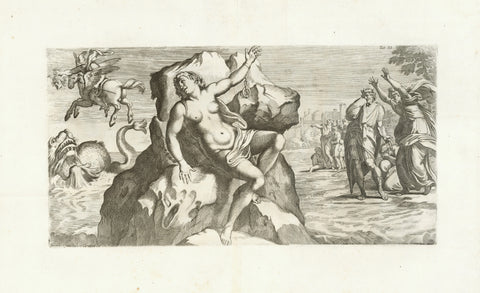 Andromeda, chained to a rock, is abandoned to a sea monster, while Perseus riding Pegasus holding Medusas severed head towards the monster, thus petrifying it, receives Andromeds for his wife  (Greek Mythology)  Copper etching by Carlo Cesio (1626-1686)  Design by Arnold van Westerhout (1651-1725)  After the fresco in Galeria Farnese in Rome by Annibale Carracci (1560-1609)