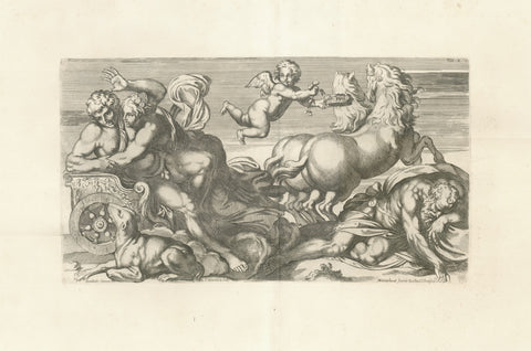 Aurora enamored with Kephalos is trying to hold him in her chariot while her husband Tithonus is sleeping in the lower right corner.  Copper etching by Carlo Cesio (1626-1686)  Design by Arnold van Westerhout (1651-1725)  After the fresco in Galeria Farnese in Rome by Annibale Carracci (1560-1609)