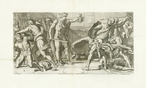 "Perseus fighting against Phineus  Copper etching by Carlo Cesio (1626-1686)  Design by Arnold van Westerhout (1651-1725)  After the fresco in Galeria Farnese in Rome by Annibale Carracci (1560-1609)  Published in ""GALERIA NEL PALAZZO FARNESE IN ROMA DEL SERENISS·DVCA DI PARMA ETC· DIPINTA DA ANNIBALE CARACCI INTAGLIATA DA CARLO CESIO"". Plate Nr. XII (12) in this important publication with 44 etchings.  Publisher: Venanzio Monaldini.  Rome, Roma, Rom, 1657  Annibale Carracci, commissioned by Cardinal Odoardo"