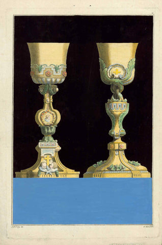 "No title. Two decorated gold chalices  Designs for use during Holy Mass in Roman Catholic Mass  Copper etching by Jean Francois Forty  Published in ""Oeuvres d'orfèvrerie a l'usage des  églises""  Paris, ca. 1770  Original antique print   The choices sand on a base block of blue gouache color and are surrounded by velvety black gouache colour., Katholizismus, Kelche, Kirche"