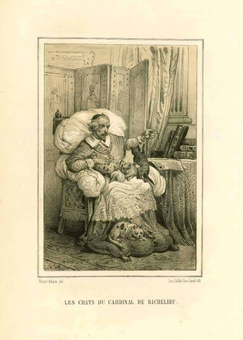 """Les Chats du Cardinal Richelieu"" Toned lithograph after Victor Adam. Published 1884. Very minor signs of age and use."