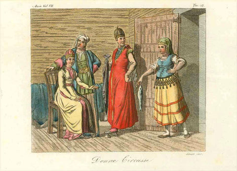 """Donne Circasse""  Copper engraving by Sasso 1820.  Original antique print  , Kaukasus"
