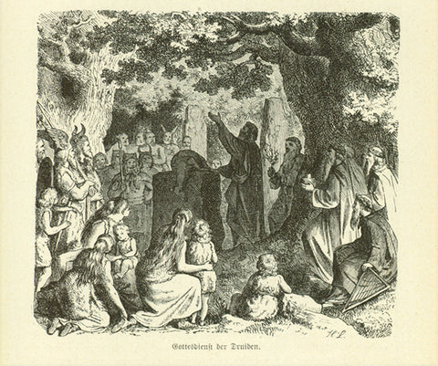 """Gottesdienst der Druiden""  Wood engraving on a page of text about the Druids. The text continues on the reverse side about Druids and Celtic life. Published 1881."