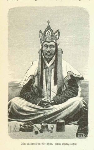 """Ein Kalmuecken Priester""  Wood engraving made after a photograph. Published 1895. The print is surrounded by text about the peoples of this Asian region."
