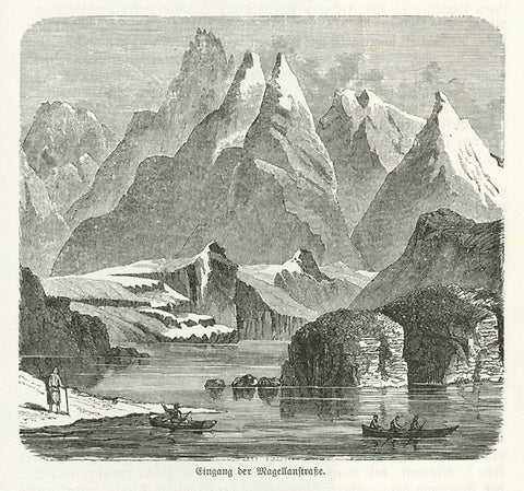 """Eingang der Magellanstrasse""  Wood engraving on a page of text about the Straits of Magellan that continues on the reverse side. Published 1885."