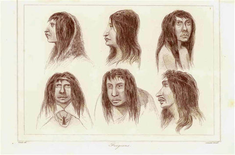 """Fuegians""  Fuegians are one of the three tribes of indigenous inhabitants of the Tierra del Fuego, at the southern tip of South America  Steel engraving by Lemaitre 1840. Upper margin narrow. Original antique print"