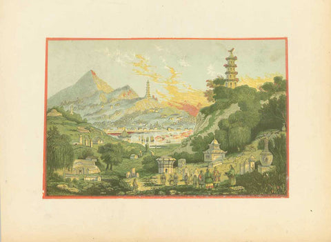 No title.  But a known subject matter: Lake See-Hoo and the Temple of the thundering winds, from the Vale of Tombs.  Chromo lithograph in soft, pleasant colors. Author unknown, but similar to Thomas Allom's steel engraving above.  London, ca. 1890  Original antique print