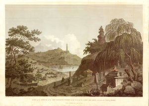 "China ""Lake See-Hoo and Temple of the Thundering Winds from the Vale of Tombs""  Copper engraving by F. Landseer & T. Shirt after W. Alexander. Dated London, April 12, 1796. Pleasant hand coloring."