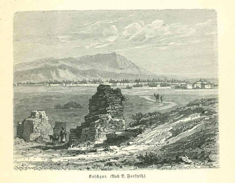 """Kaschgar"" (Kaxgar, Kashgar)  Wood engraving on a page of text about the region that continues on the reverse side. Published 1895."