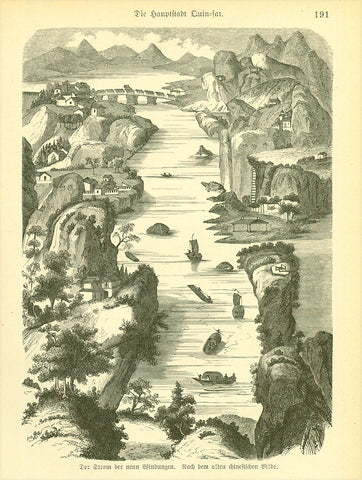 """Der Strom der neun Windungen. Nach dem alten chinesischen Bilde"" (the stream of 9 turns)  Fascinating wood engraving pblished 1881. On the reverse side is Marco Polo's description of Quinsai (now Hangzhou), his favourite Chinese  city."