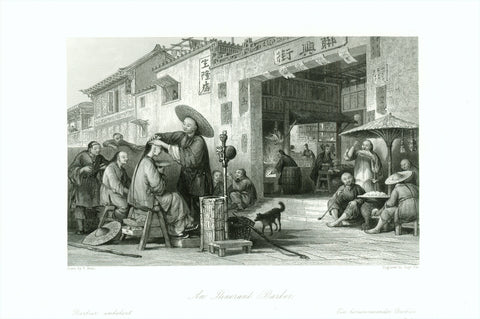"""An Intinerant Barber""  ""Barbier ambulant,  Ein herumreisender Barbier""  Steel engraving by Aug. Fox after T. Allom, ca 1850."