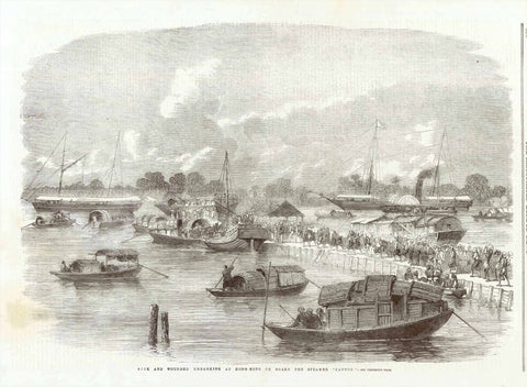 """Sick and Wounded Embarking at Hong-Kong on Board the Steamer ""Canton""  Wood engraving published 1858. This print shows the sick being carried by coolies to be but on large boats.  On the reverse side is interesting text about the foreigners in Hong Kong and other news.  Original antique print"
