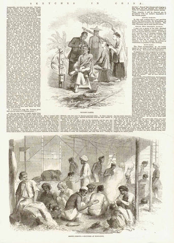 "Hong-Kong. - ""Sepoys cooking. - sketched at Hong Kong""  Above this print another print:  ""Chinese Barber""  Wood engraving. Dated 1857  Original antique print"