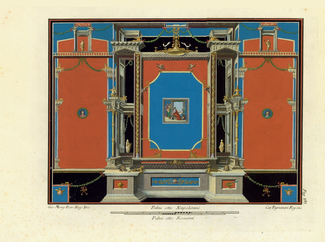 "ERCOLANO / POMPEII   No title. Elegant wall fresco found in Pompeii Highly decorative copper etching by Camillo Pignatari after the drawing  by Philipp Morghen. Published in ""Le antichita di Ercolano"". Naples, Neapel, Napoli, 1757-1792 This was a monumental 8 volume folio-sized description of what archeologists found and depicted in Pompeii and Herculaneum (Ercolano)."