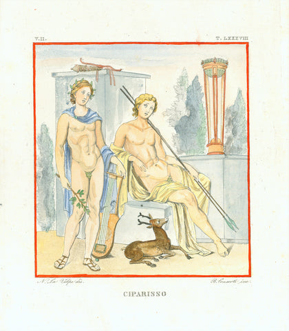 """Ciparisso""  Hand-colored copper etching by Bernardo Consorti (1785-?)  Original antique print   After the drawing by Nicola La Volpe (1789-1876)  Kyparissos was one of Apollo's lovers, who held a tame deer like a close friend for years. When he accidentally killed the animal, he was so unhappy that he wanted to die. But Apollo convinced him to live. He transformed him into a cyprus tree (symbol for mourning).  La Volpe shows the two adolescent boys (Apollo with a musicial instrument and Kyparissos with hun"