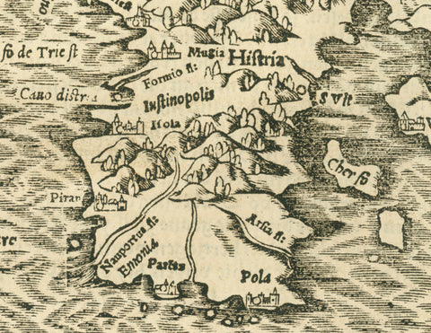 """Hystereich"" Istria  Strongly printed woodcut. With the continuation of the article on the following page.  Published in ""Cosmographia"" by Sebastian Muenster (1488-1552)  German edition. Basel, 1553  Map shows the Istrian peninsula, the Golfo di Trieste, Pola, Rijeka, along the Dalmatian coast to the city of Senj (latin: Senia oder Segna; German: Zengg; italian: Segna),the islands Cres and Krk. All of Slowenia, Parts of Carinthia, Friaul, Ljubljana."