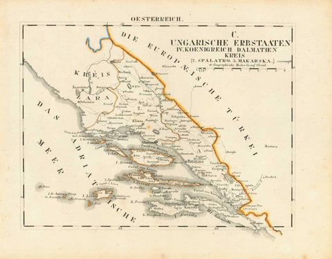 """Ungarische Erbstaaten IV. Koenigreich Dalmatien Kreis 2. Spalatro, 3. Makarska""  Lithograph map from Schliebens ""Atlas from Europe"". Original outline coloring. Published 1825. Original antique print  Notice that the map has some of the early names for the islands and cities shown.  The right side of the map shows the area of Turkish domination (Ottoman Empire), that lasted from 1299 to 1922 in various parts of Europe, Middle East, Africa and the Mediterranean area. Dalmatia was not part of the Ottoman Empi"
