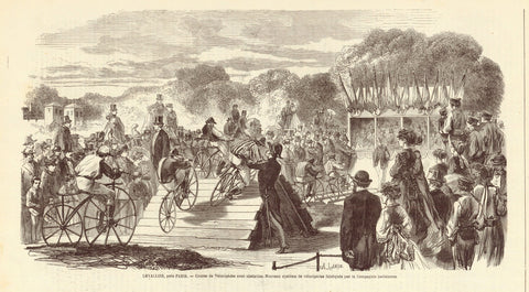 """Levallois, pres Paris.C - Course de Velocipedes avec obstacles. Nouveau systeme de velocipedes fabrique par la Compagnie parisienne""  Wood engraving published 1869. Below the image is text about the bicycle race near Paris."