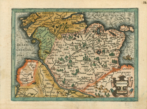 """Holsatia"" - Deutschland  Original antique print   Original handsomely hand-colored copper etching  Published in the ""pocket atlas""  Published by Hondius after Mercator  Amsterdam, 1609  On the reverse side is text in Latin about Holstein.  Beautiful map of the northernmost province of Germany."