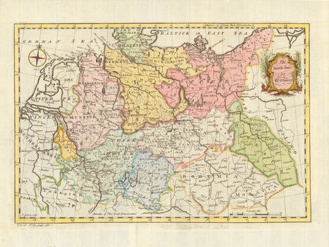 """The North Part of Germany""  Original antique print   Hand-colored copper etching by John Gibson (active between ca 1750- ca 1790)  Quite attractive and very pleasantly hand-colored map of Northern Germany. A rather rare projection with a decorative title cartouche. Deutschland, Norddeutschland"