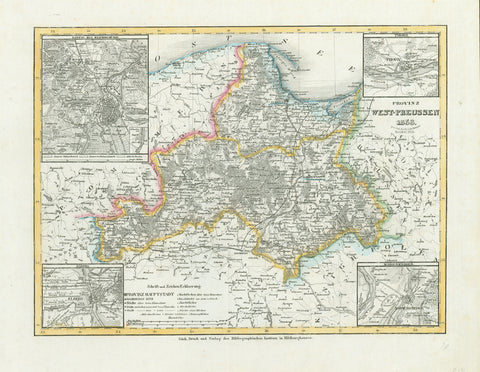 """Provinz West-Preussen 1853"". Steel etching from ""Neuster Zeitungs Atlas. Alter und Neuer Erdkunde"" by J. Meyer. Original outline coloring. Published 1859.  Map shows the area of West Prussia as it was in 1853. In the upper left corner is a detailed inset of Danzig and surrounding area. In the lower left is an inset showing Elbing and surroundings. In the upper right is a plan of Thorn and surrounding area and in the lower right an inset of Marienwerder.  Original antique print , Prussia"