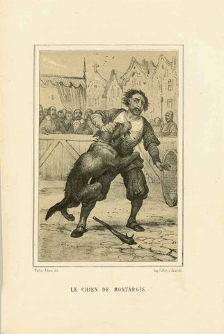 """Le Chien de Montargis""  This title comes from the famous French legend that tells  about the loyalty of a dog to its owner. There are plays and novels that are based on this famous story all over the world.  This is a toned lithograph after the artis Victor Adam. It was  Published 1884."