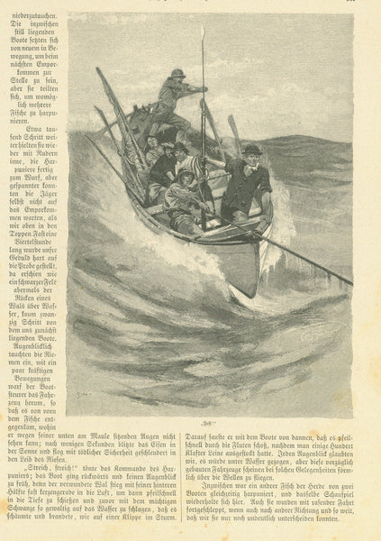 """Hochjagd auf dem Ozean"" (high hunting on the ocean)  Four pages of an article by Reinhold Werner with 8 wood engraving images.  Published 1893. Both sides of each page tell about the early days of whaling in various parts of the world."