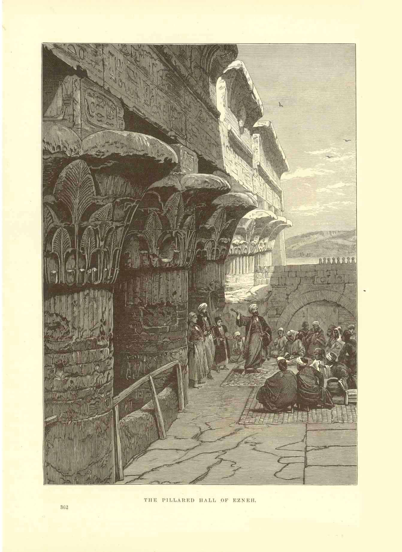 """The Pillared Hall of Ezneh""  Wood engraving 1895. On the reverse side is text about excavations in Egypt."