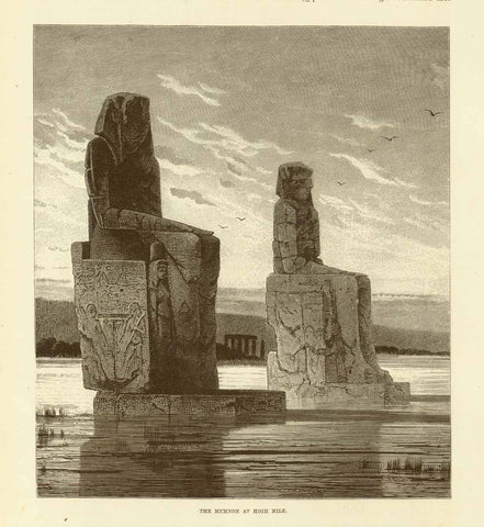 """The Memnon at High Nile""  Wood engraving published 1895. On the reverse side is an image of Amenophis IV."