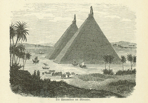 """Die Pyramiden im Moerissee""  Wood engraving on a page of text about early Egyptian exploration."