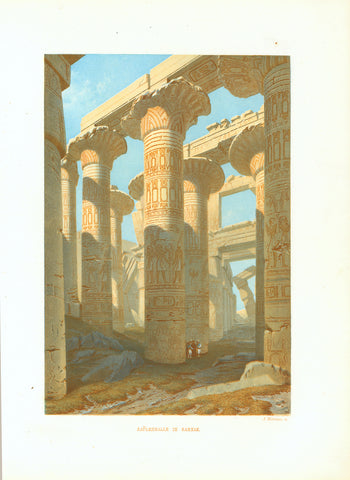 """Saeuelenhalle in Carnak""  Original antique print   Chromolithograph by A. Meermann published 1861. Karnak, Ägypten, Archäologie"