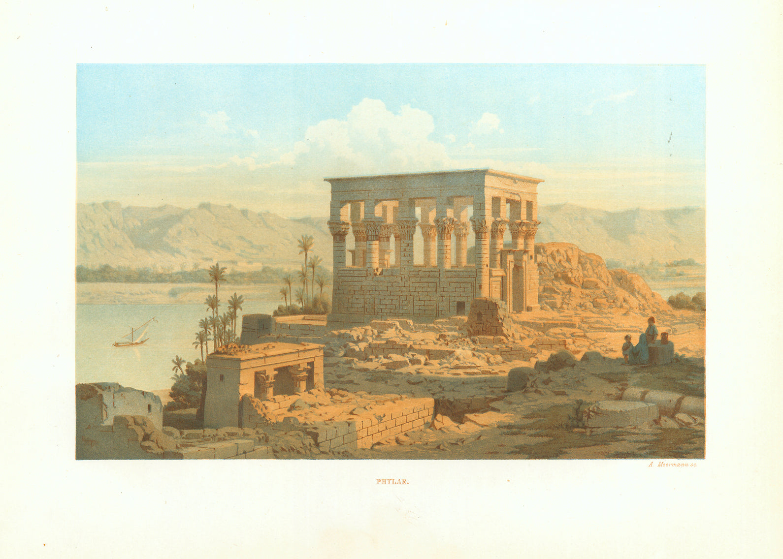 """Phylae""  Toned lithograph printed in color by A. Meermann. Published 1861.  Philae is an island in the reservoir of the Aswan Low Dam  Original antique print"