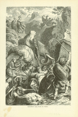 """Hannibal's Zug durch die Alpen"" (Hannibal crossing the Alps with elephants)  Wood engraving published 1881. On the reverse side is text about the Celts and Alps."