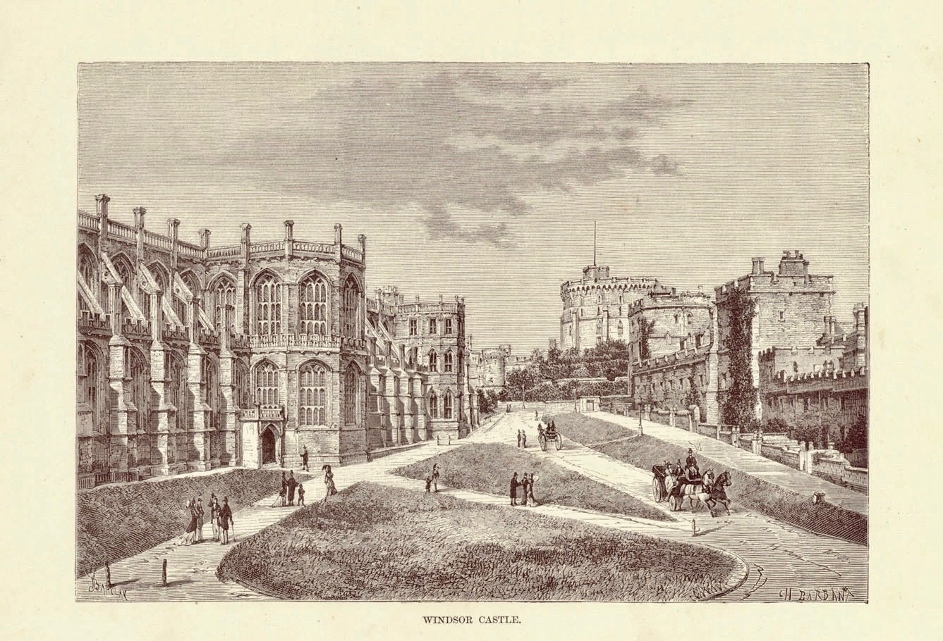 """Windsor Castle""  Wood engraving by Barbant ca 1880. Very light age toning."