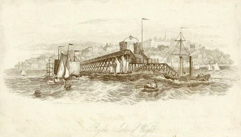 "England, ""Ryde, Isle of Wight""  Line lithograph published ca 1870. Mounted on beige paper. Print has two vertical folds to fit original book size."