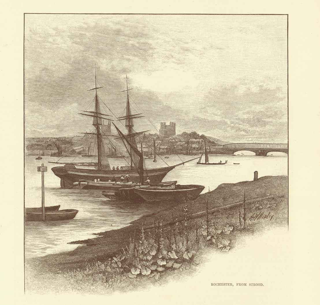 """Rochester, From Strood""  Wood engraving 1895. Reverse side is printed with text about the Lower Medway."