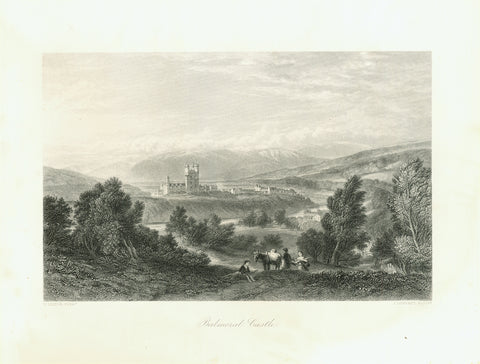 """Balmoral Castle""  Steel engraving by J. Goderey after a painting by W. Leitch ca 1850."