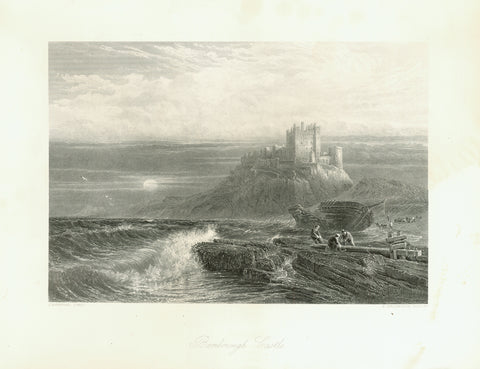 """Bamborough Castle""  Fine steel engraving by S. Bradshaw after a painting by J. Mogford ca 1850."