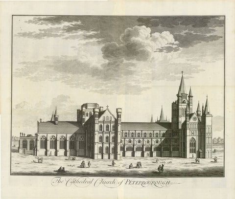 "Peterborough, Cambridgeshire. - ""The Cathedral Church of Peterborough""  Anonymous copper etching.  Published in ""Britannia Illustrata""  Publisher Joseph Smith  London, 1724  Original antique print"