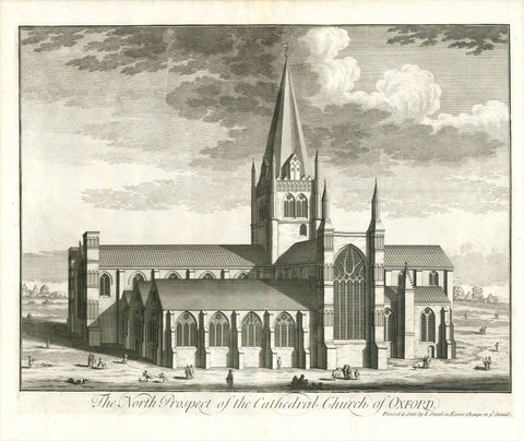 "Oxford. - ""The North Prospect of the Cathedral Church of Oxford""  Anonymous copper etching.  Published in ""Britannia Illustrata""  Publisher Joseph Smith  London, 1724  Original antique print"
