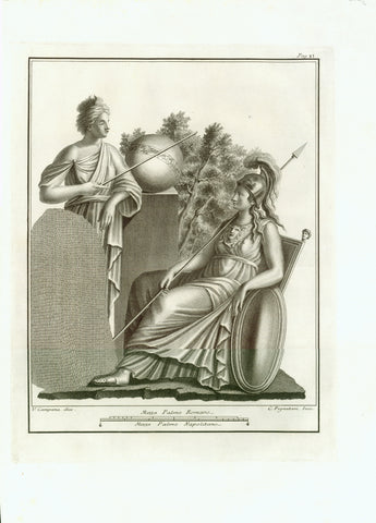 "Urania, in Greek Mythology the muse of Astronomy here with Pallas Athene. Urania demonstrates the zodiac pictured as a ribbon around the earth.  Copper etching by C. Pignatari after the drawing by V. Campana  Published in ""Antichita di Ercolano eposte"" 8 volumes.  Naples, Napoli, Neapel, 1757-1792"