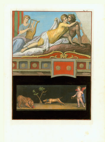 "No title. Amorous couple, engaged in the game of love, accompanied musically by a nymph playing the lyra.  Wall fresco in Ercolano  Hand-colored copper etching  Published in ""Antichita di Ercolano esposte""  Naples, 1757-1792"