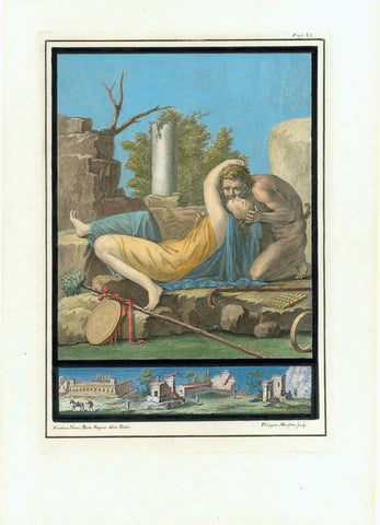 "No title. Pan seducing a young woman.  Pan, Greek God of pastures, here recognized for his tail, his flute and his shepherd's staff.  Wall fresco in Ercolano  Hand-colored copper etching by Philipp Morghen after the drawing by Nicolaus Vanni  Published in ""Antichita di Ercolano esposte""  Naples, 1757-1792"
