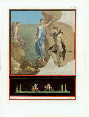 "No title. Young couple. Apollo? or Jason?  Wall fresco in Ercolano  Hand-coloured copper etching by C. Nolli after the drawing by Giovanni Morghen  Published in ""Antichita di Ercolano esposte""  Naples, 1757-1792"