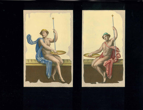 "No title. Two separate nude young men sitting on bench.  Anonymous hand-colored (gouache) copper etching.  Published in ""Le Antichita di Ercolano esposte""  An 8-volume work on the antiquities found during the excavations of Herculaneum.  Naples, 1757-1792"