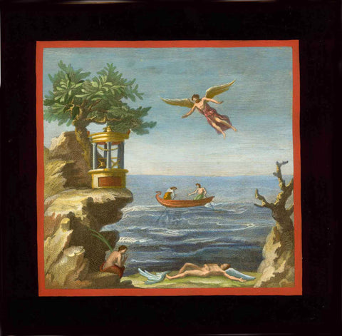 "No title. - Ikarus crashed  Hand-colored copper etching.  Published in ""Le Antichità di Ercolano Esposte""  Naples (Napoli, Neapel), 1757-1792 (in eight volumes)  Imprisoned by King Minos, Ikarus and his father Daedalus knew only one escape way: by flying. They manufactured wings for themselves held together by wax. Daedalos emphasized to his son, not to get too close to the sun, lest the wax would melt. But Ikarus, exuberant as he was, disregarded his father's admonishment. The heat of the sun melted the wa"